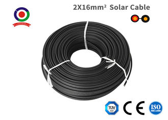 Double Protection Black Twin Core Solar Cable , Low Eccentricity 16mm 2 Core Cable