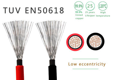 China Black Or Red Solar PV Cable Double Insulated 4mm² 600 / 1000V TUV Approved supplier