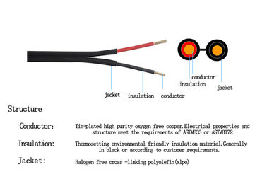 China 0.8mm Thickness Twin Core Electrical Cable For Photovoltaic Power System supplier