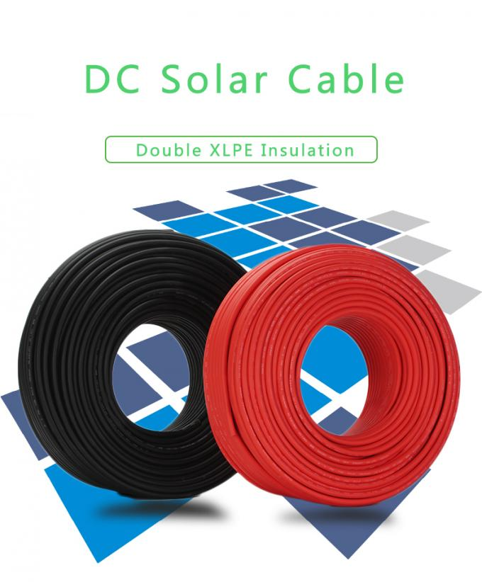 Single Core Pv Dc Cable / Tinned Copper Double XLPE Solar Dc Cable