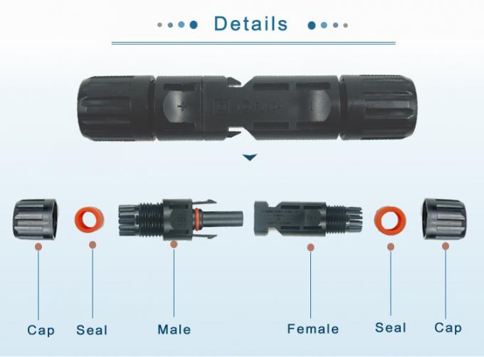Male / Female PC Solar Panel Connectors IP67 30A Rated Current Excellent Performance 0