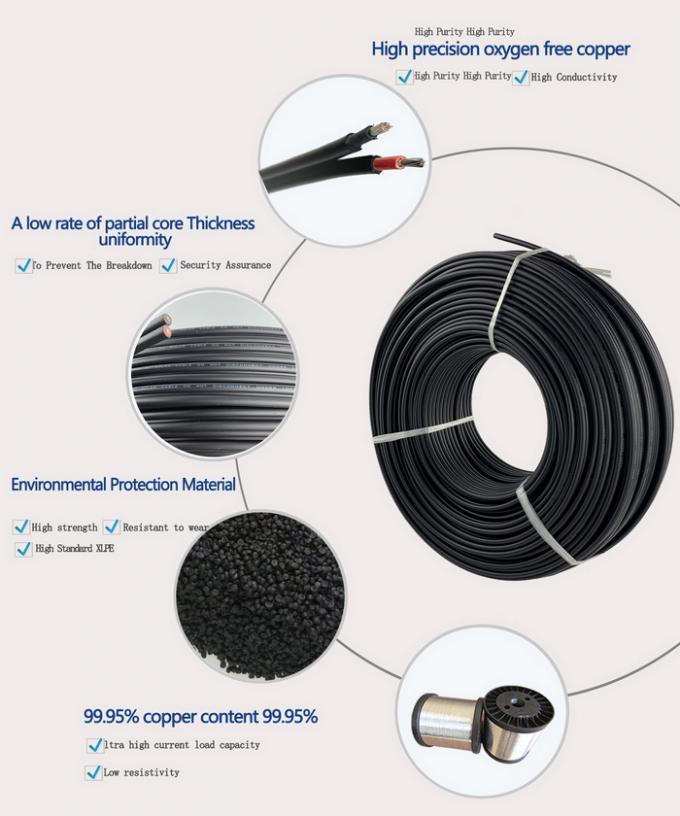 Double Insulated 2 Core Solar Cable 4mm TUV approved Fire Resistant Performance