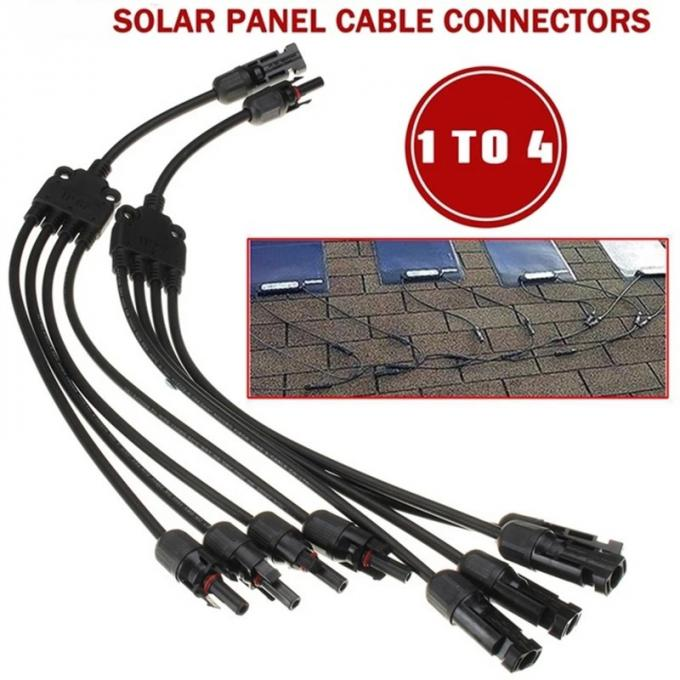 Black Solar Panel Branch Connector 30A PPO IP67 DC 1000V  Plug / Socket 0